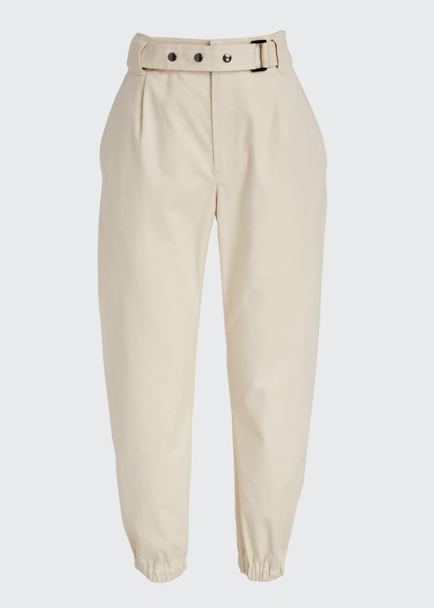 Image 4 of 4: Cotton Gabardine Belted Pants