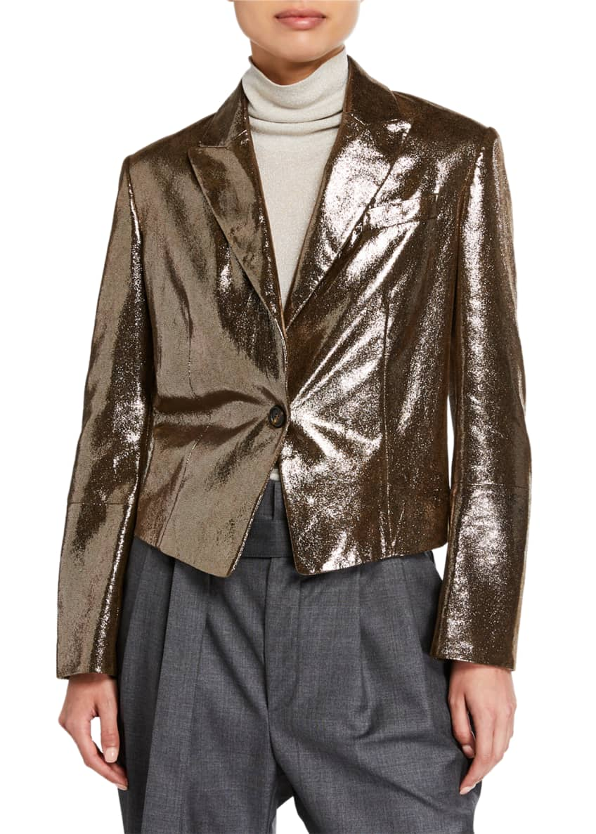 Image 2 of 3: Sparkling Napa Leather Jacket