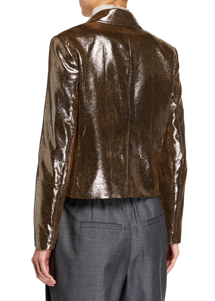 Image 3 of 3: Sparkling Napa Leather Jacket