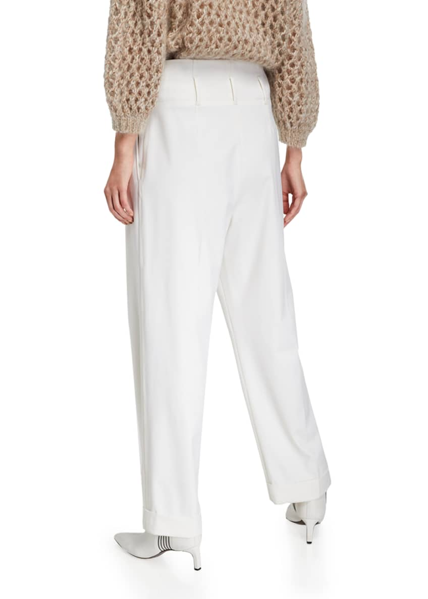 Image 2 of 3: Wool Pleated Full-Leg Pants