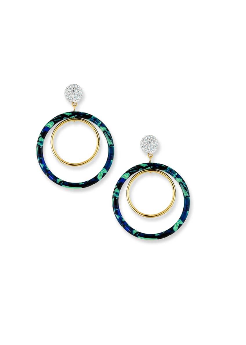 Lele Sadoughi Double Hoop-Drop Earrings