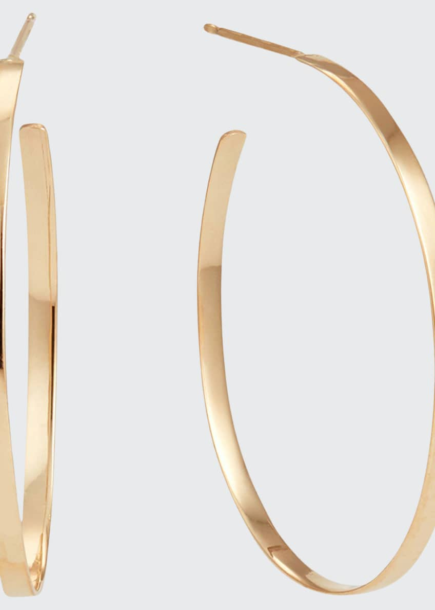 Image 1 of 2: 14k Gold 30mm Flat Mega Oval Hoop Earrings