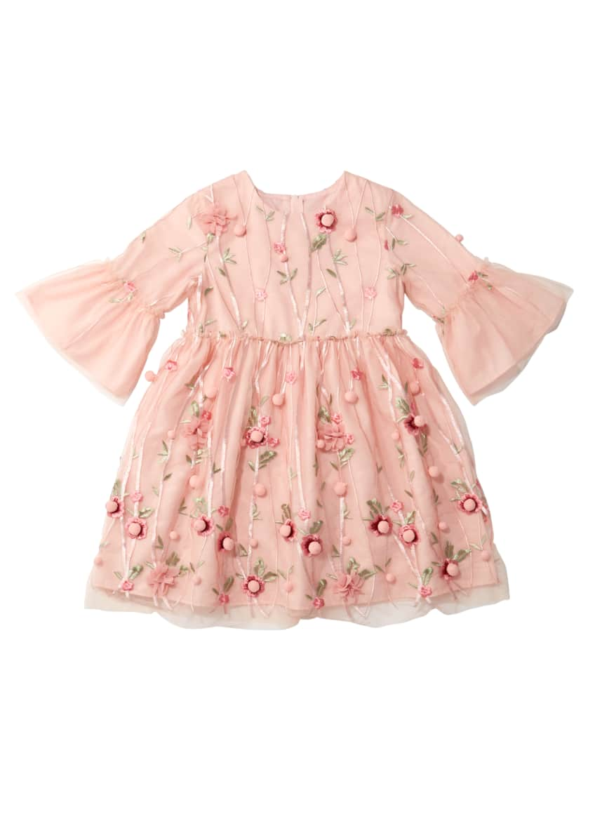 Charabia 3D Flower Pompom Embroidered Dress, Size 4-8