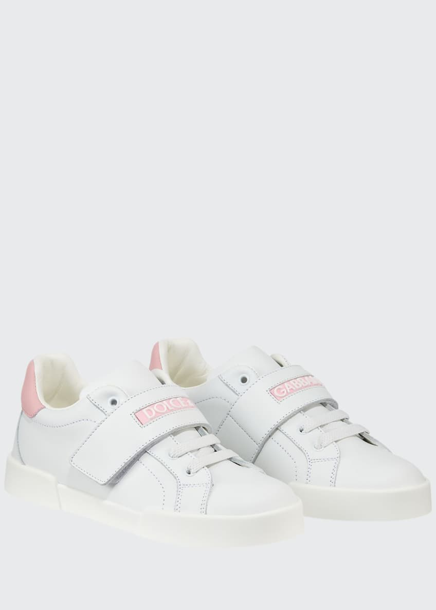 Dolce & Gabbana Grip-Strap Two-Tone Leather Logo Sneakers,