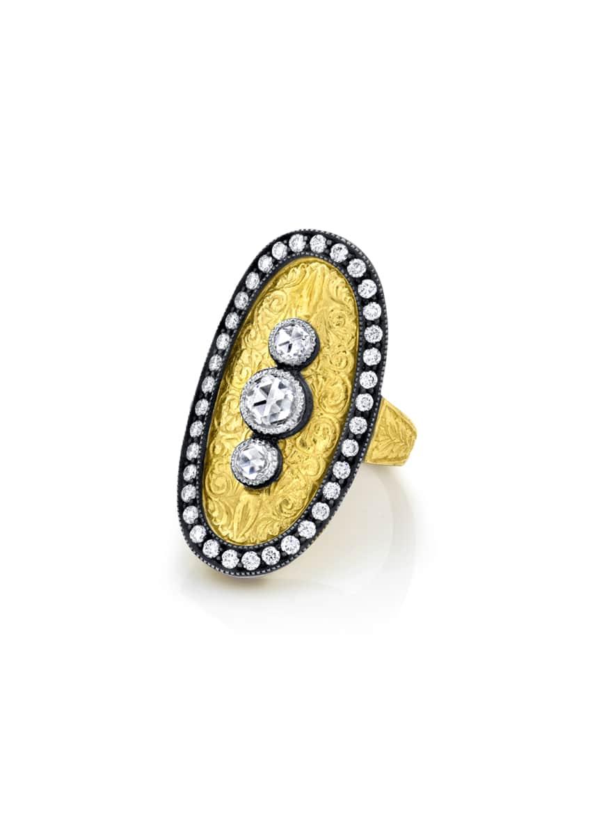 Arman Sarkisyan Oval 3-Diamond Ring, Size 6, 6.5,