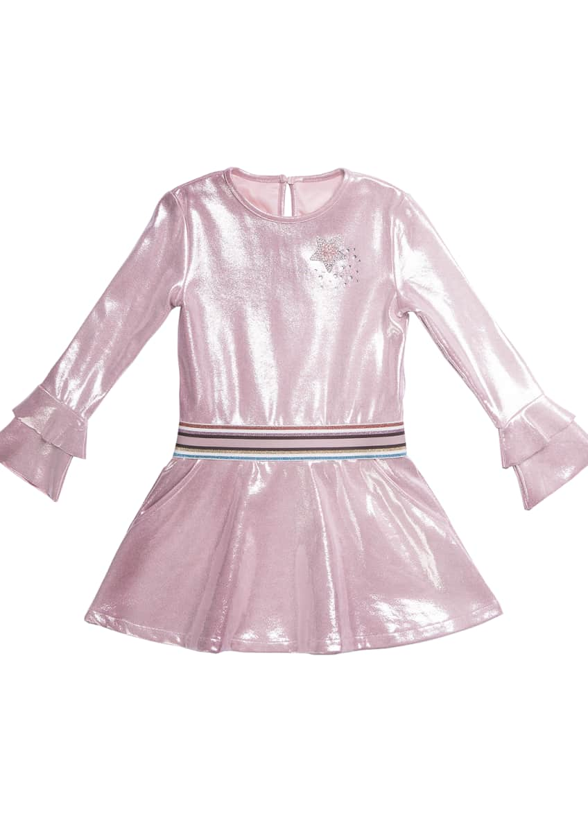 Imoga Long-Sleeve Metallic Faux Suede Dress, Size 4-6