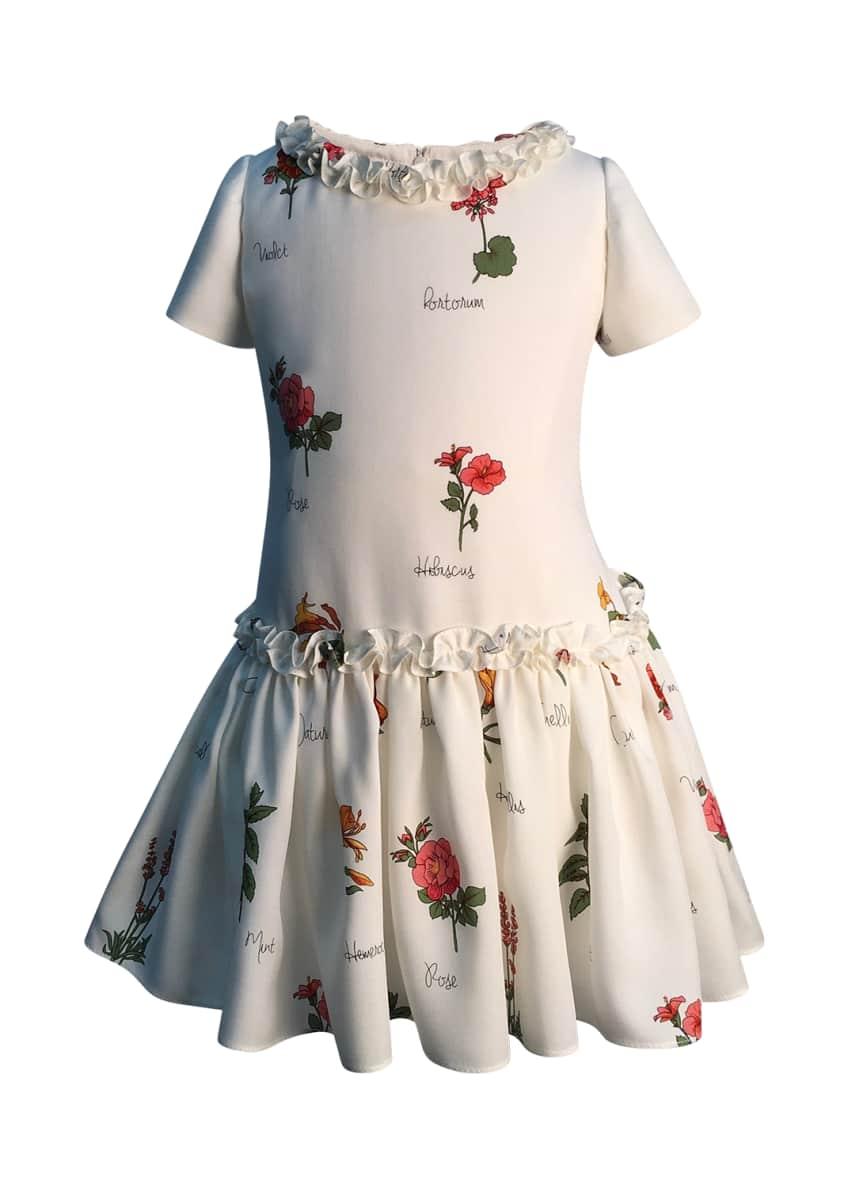Helena Botanical Print Ruffle Dress, Size 2-6 &