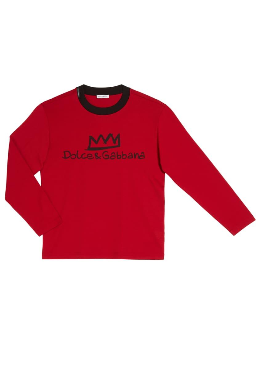 Dolce & Gabbana Boy's Logo Crown Long-Sleeve T-Shirt,