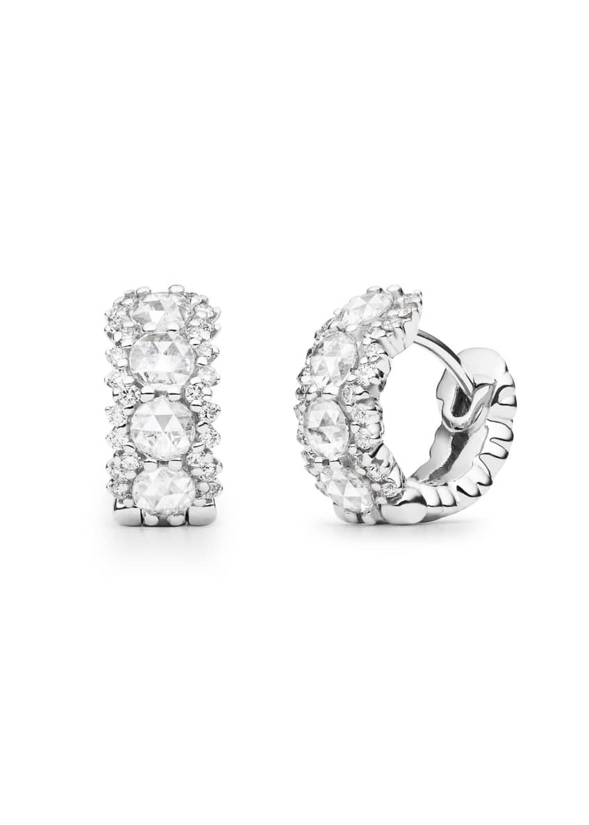 Image 1 of 1: 18k White Gold Large Diamond Snap-Hoop Earrings