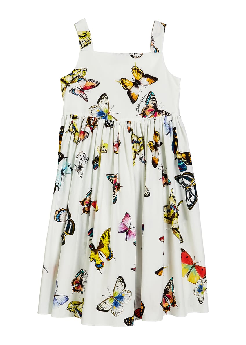 Image 1 of 4: Butterfly-Print Poplin Sleeveless Dress, Size 8-12
