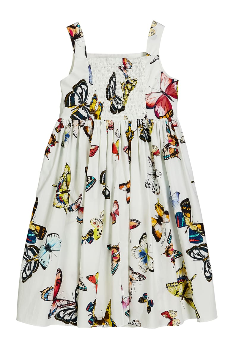 Image 2 of 2: Butterfly-Print Poplin Sleeveless Dress, Size 4-6