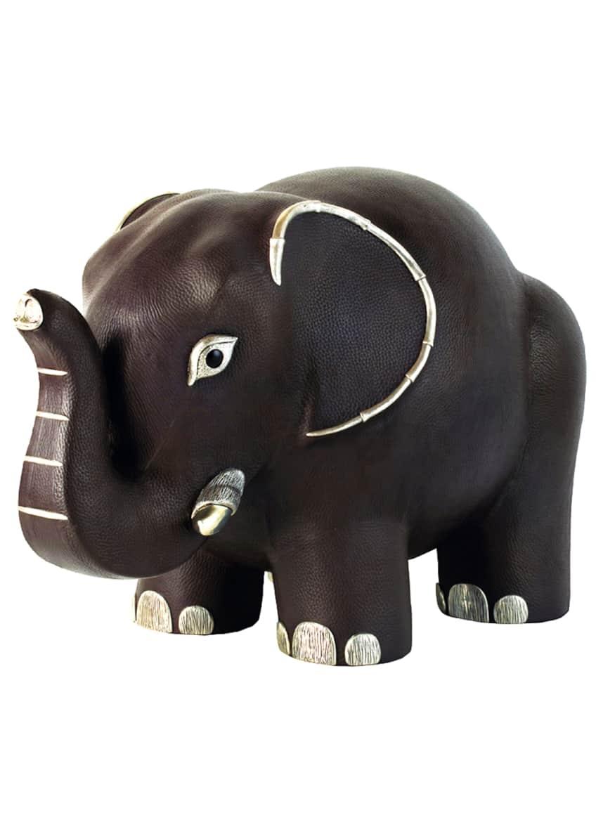 Lotus Arts de Vivre Brown Leather Elephant Stool