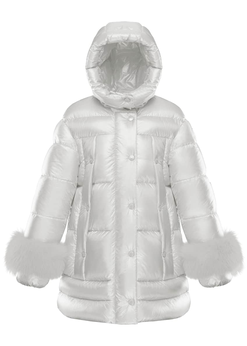 Image 1 of 4: Girl's Brionnais Quilted Long Coat w/ Fur Trim, Size 8-14