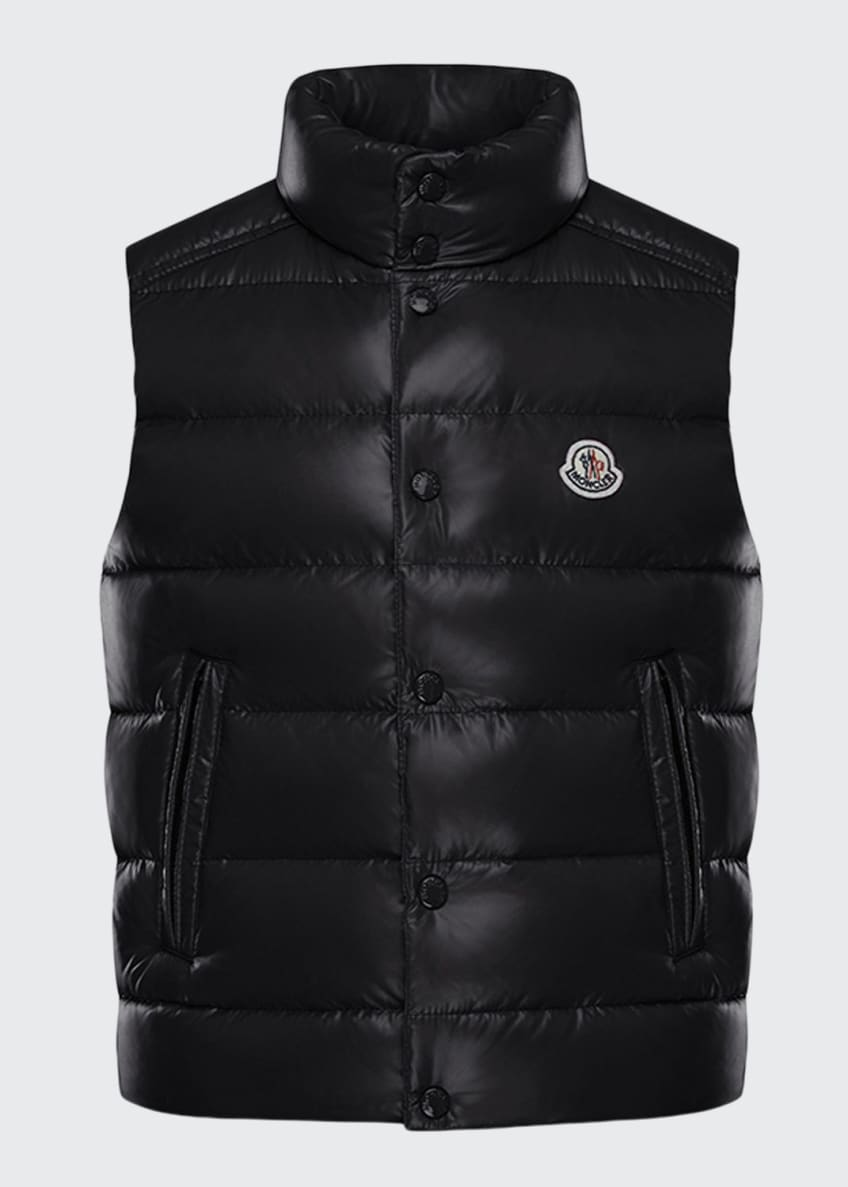 Image 1 of 4: Quilted Nylon Snap-Front Puffer Vest, Size 4-6