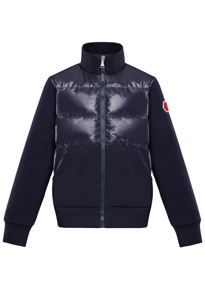 Moncler Knit & Quilted Stand Collar Jacket, Size