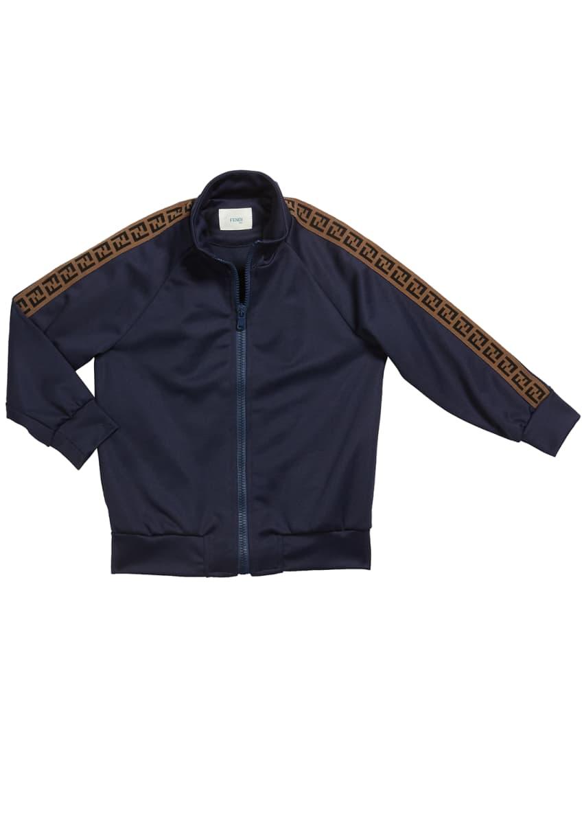 Fendi Kid's Track Jacket w/ FF Taping, Size