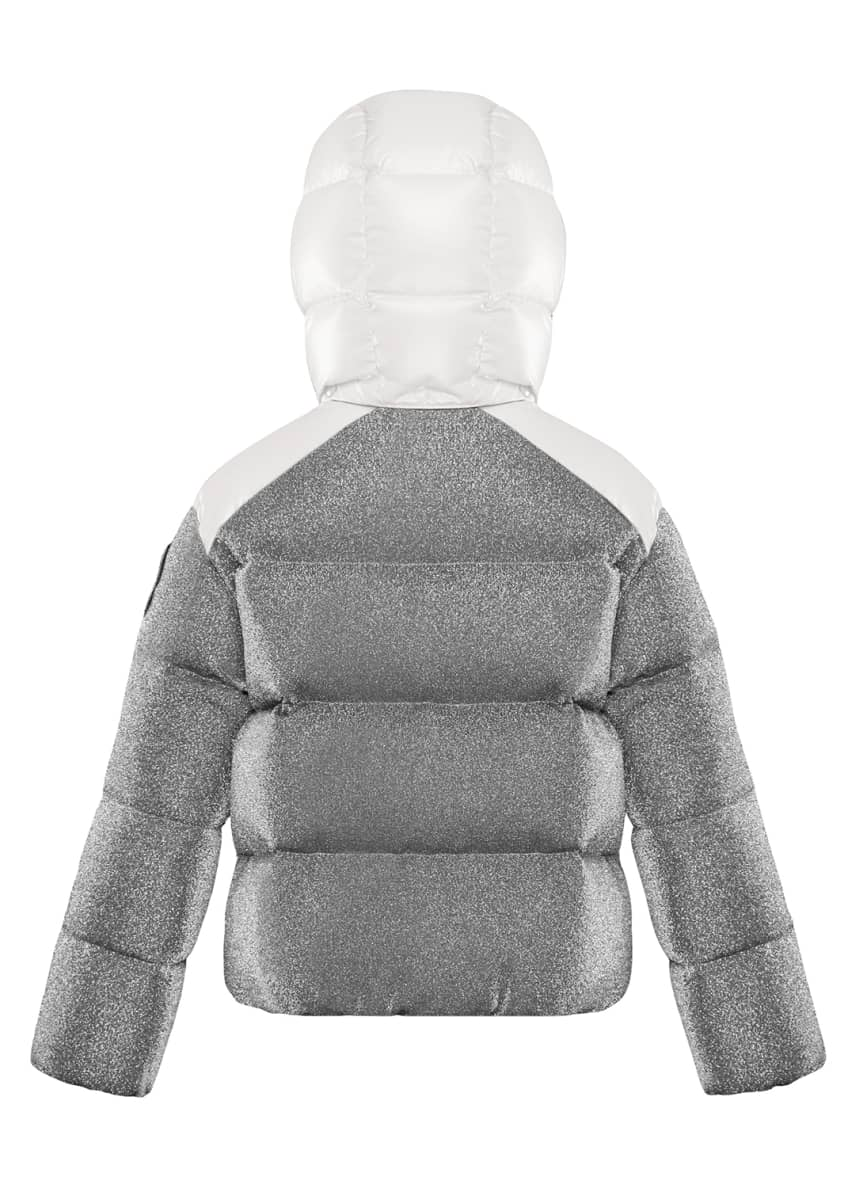 Image 2 of 2: Chouette Sparkles Detachable-Hood Puffer Coat, Size 4-6