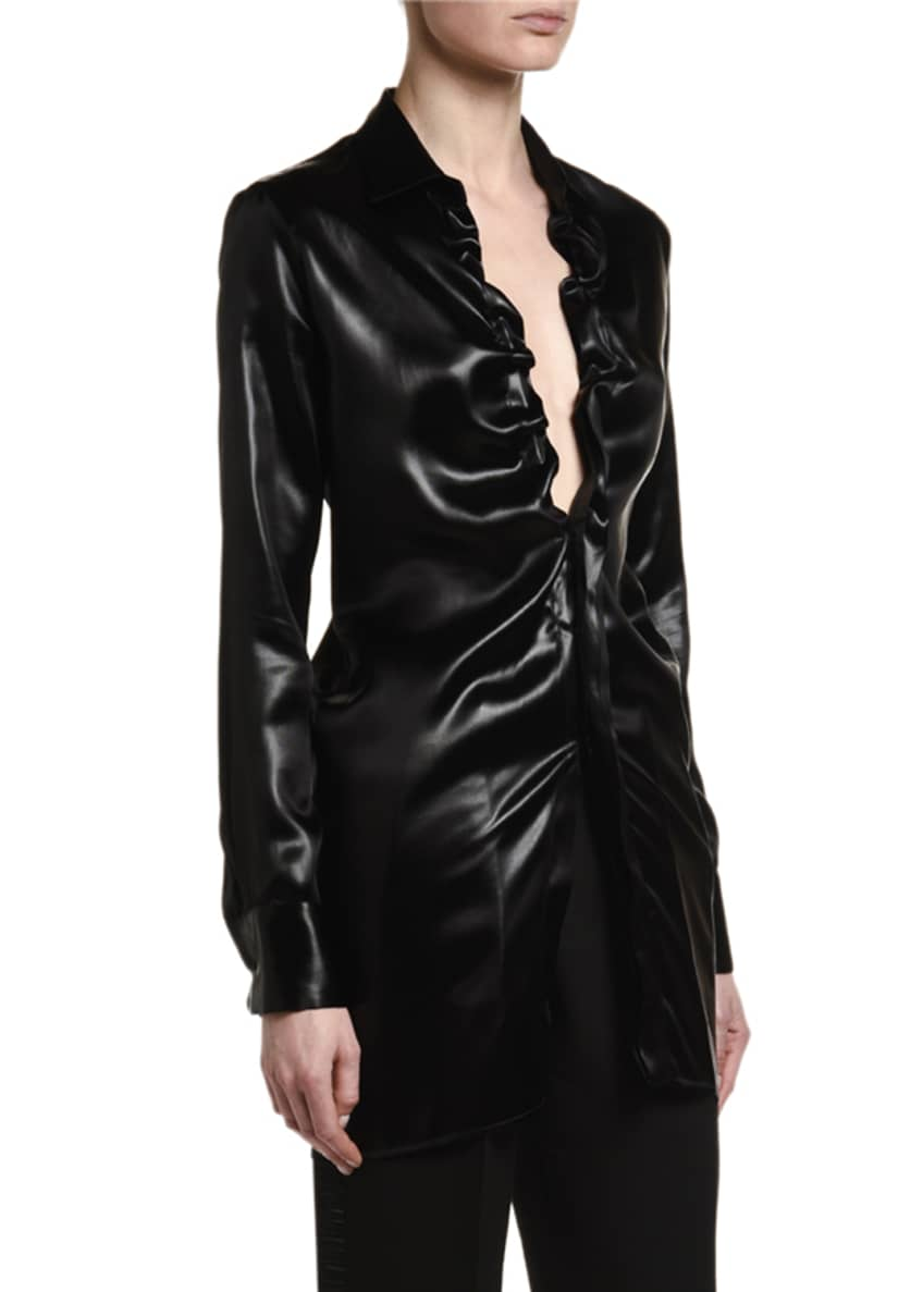 Image 2 of 5: Lacquered Satin Blouse with Ruffle Keyhole