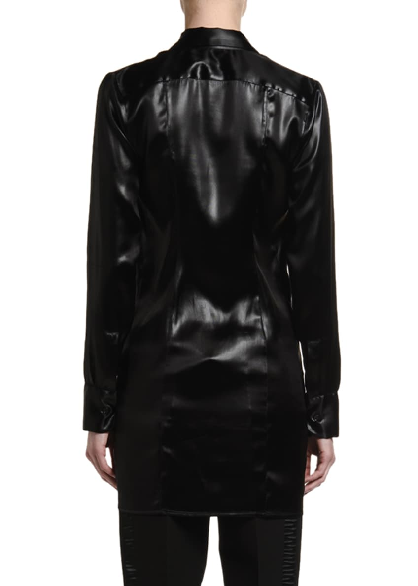 Image 3 of 5: Lacquered Satin Blouse with Ruffle Keyhole