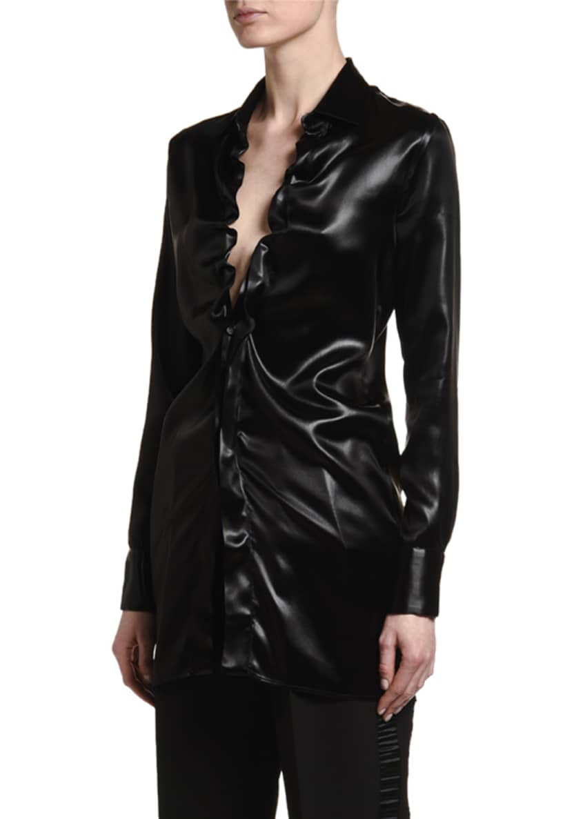 Image 4 of 5: Lacquered Satin Blouse with Ruffle Keyhole