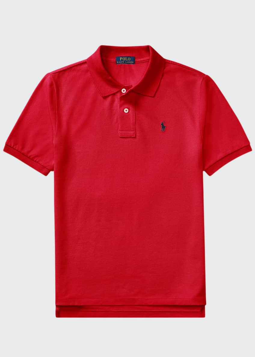 Image 1 of 2: Short-Sleeve Logo Embroidery Polo Shirt, Size S-XL