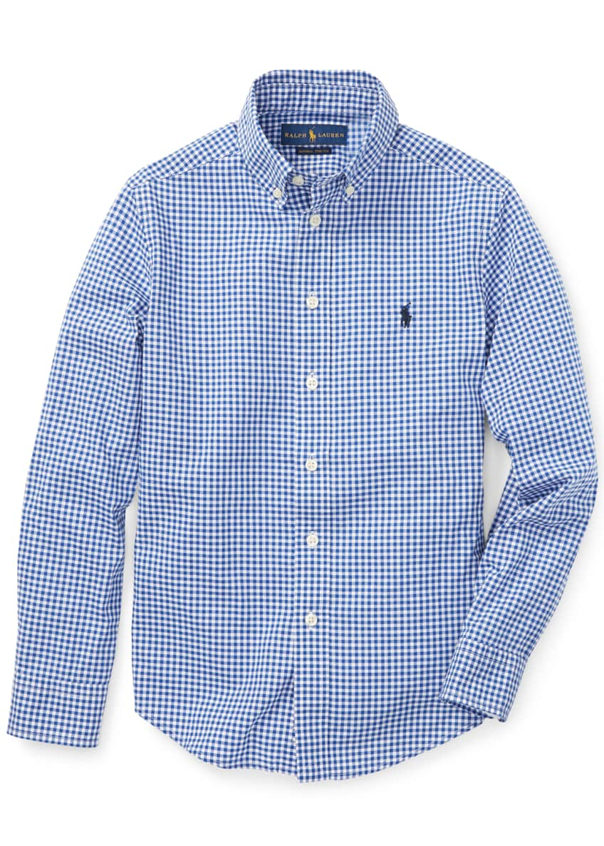 Image 1 of 4: Poplin Woven Gingham Sport Shirt, Size S-XL