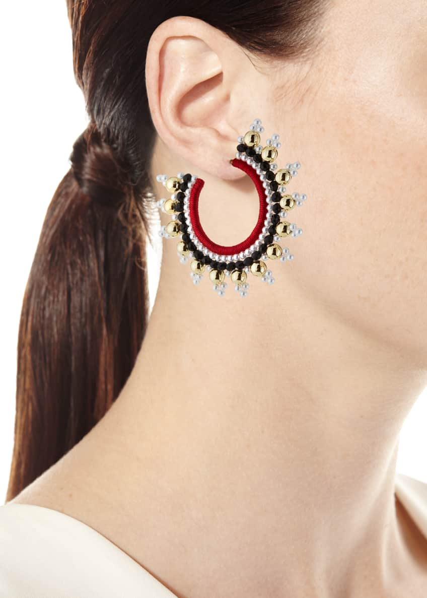 Image 2 of 2: Small Embellished Hoop Earrings