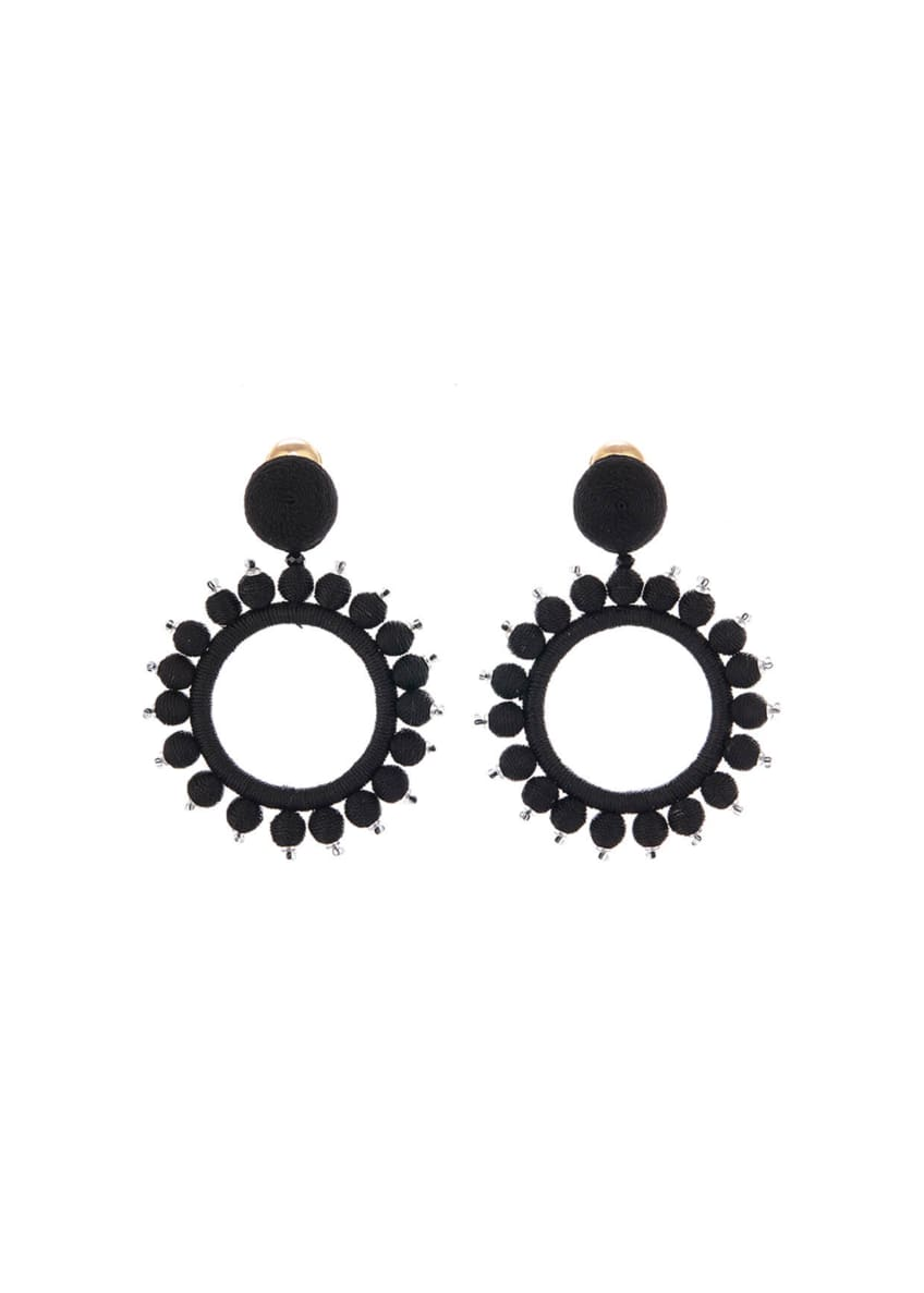 Image 1 of 1: Silk-Wrapped Circular Clip-On Earrings