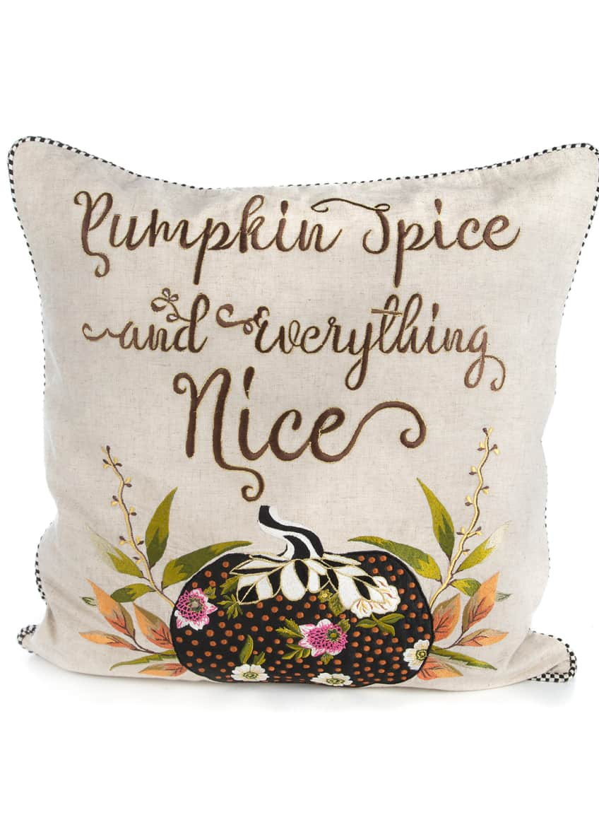 MacKenzie-Childs Pumpkin Spice & Everything Nice Pillow