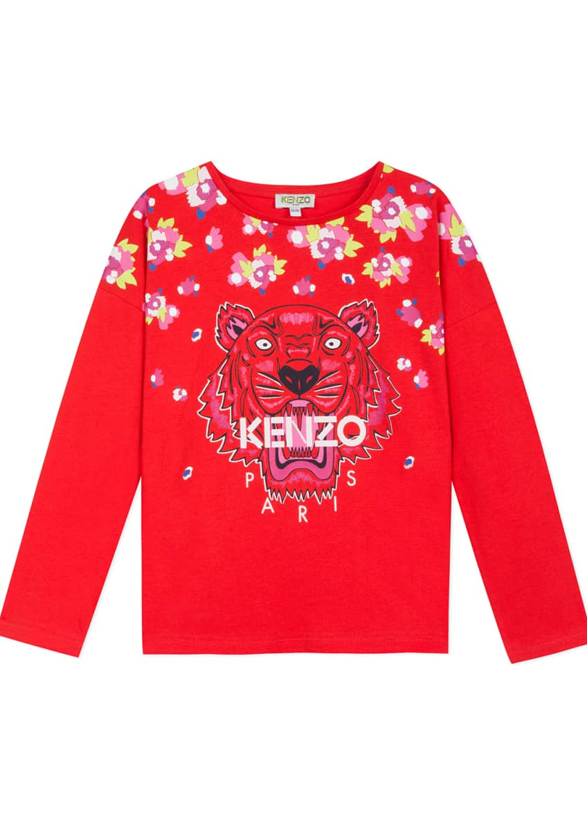 Kenzo Floral Tiger Print Tee, Size 2-6 &