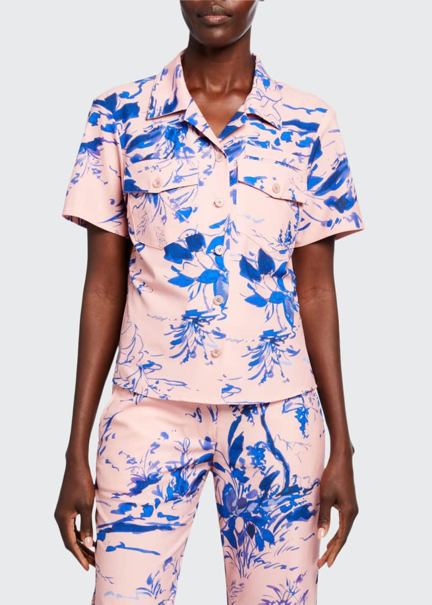 Sies Marjan Nico Floral-Print Crepe Short-Sleeve Shirt &