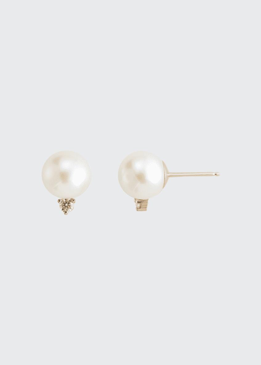 Mizuki 14k Large Pearl & Diamond Stud Earrings