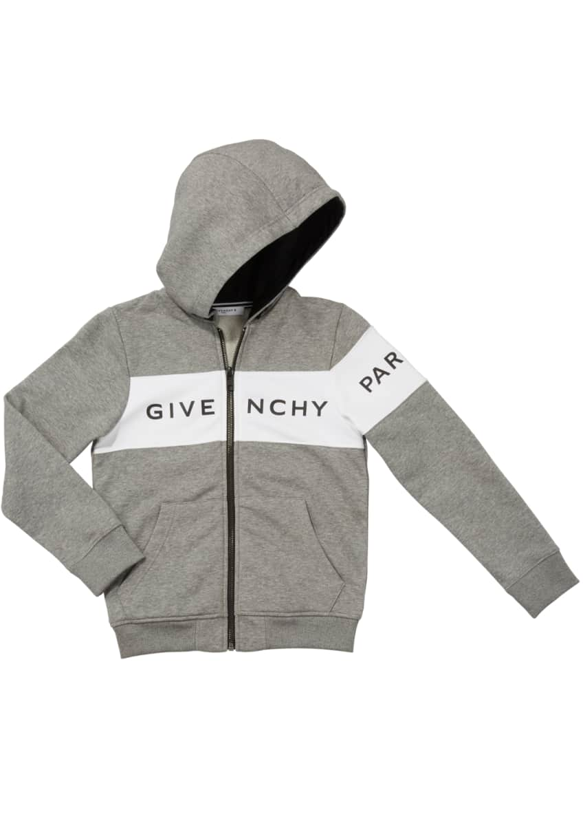 Givenchy Boys' Hooded Zip-Front Logo Sweatshirt, Size 4-10