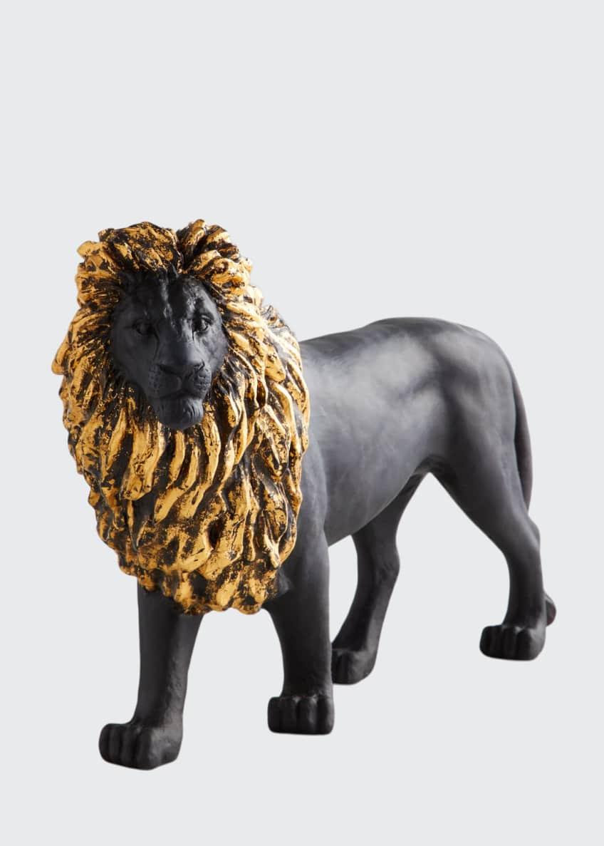 Daum Black & Gilded Sand Lion Figurine