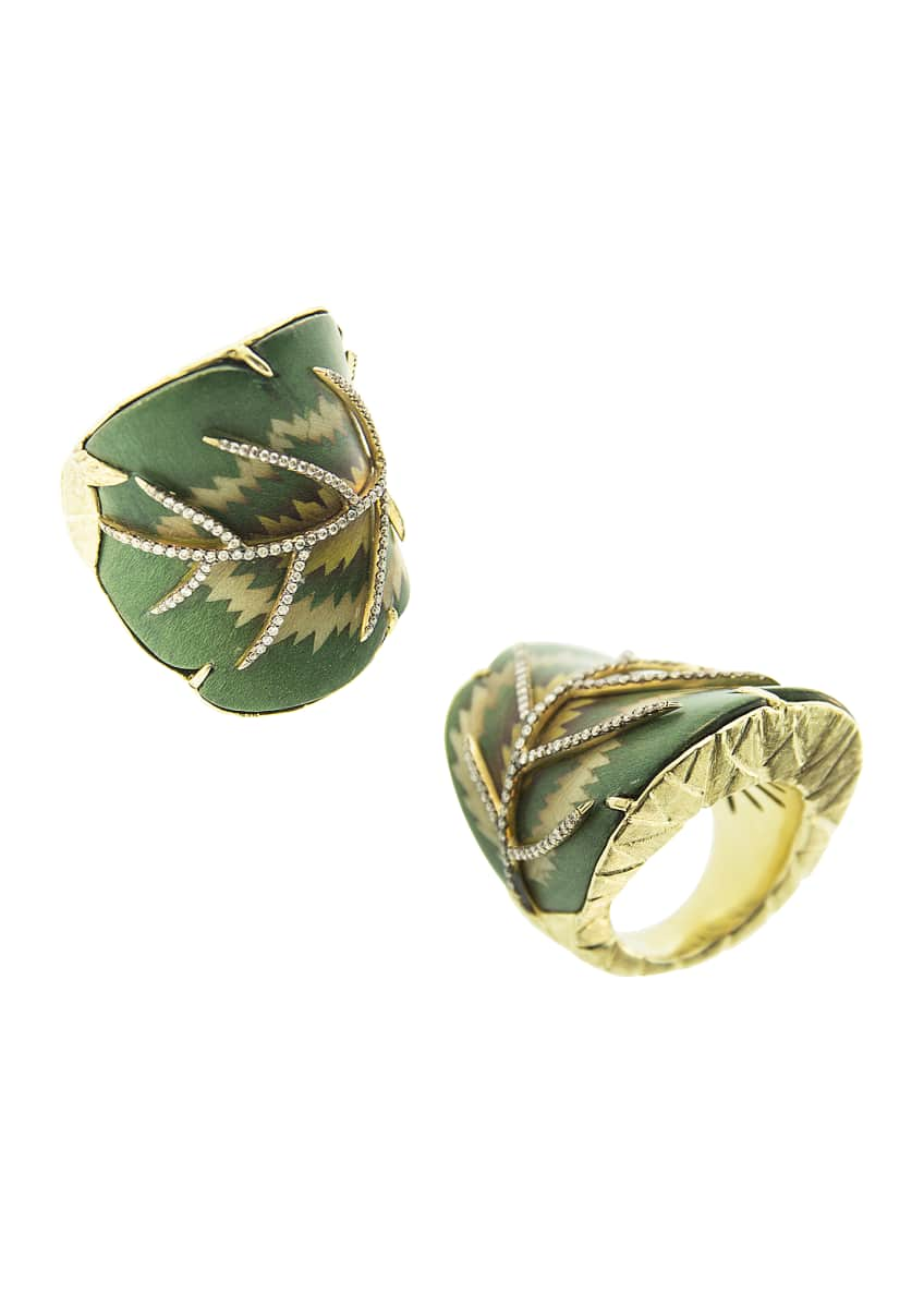 Image 1 of 1: Yellow Gold Sculptural Botanical Green Leaf Light Brown Diamond Ring