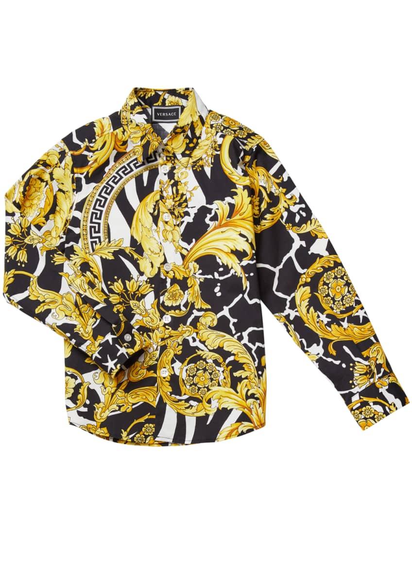 Versace Boy's Barocco Print Dress Shirt, Size 4-6