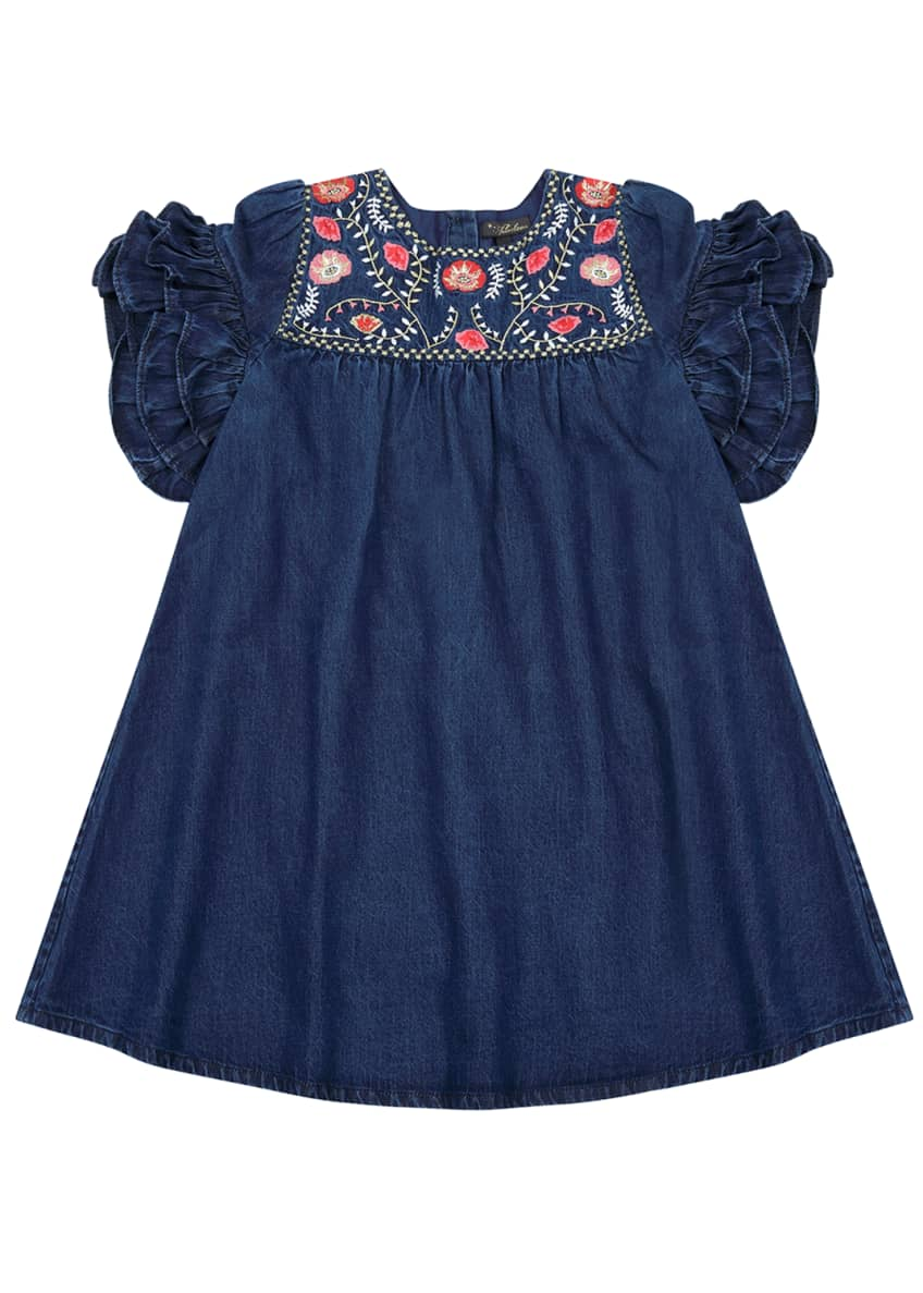 Velveteen Ginny Denim Embroidered Dress, Size 4-6 &