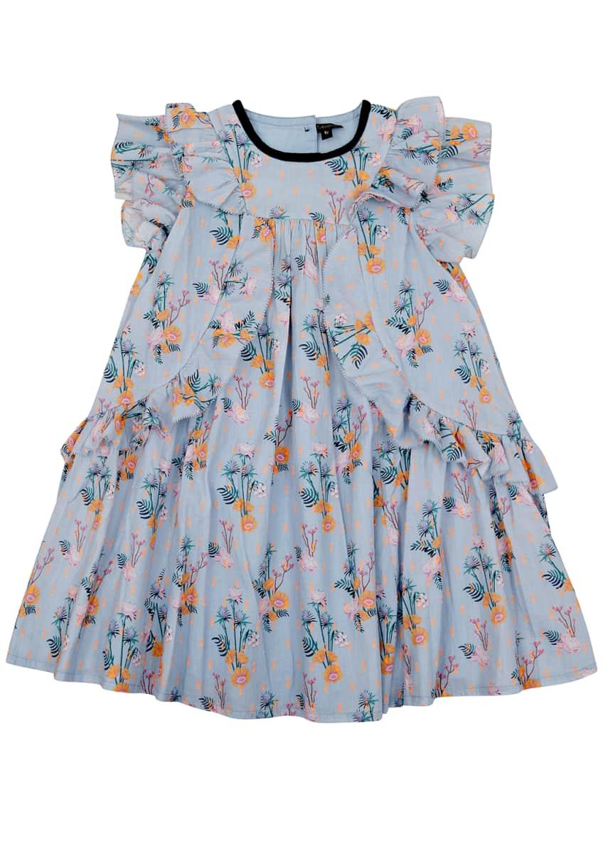 Velveteen Tess Floral Flare Dress, Size 4-6 &