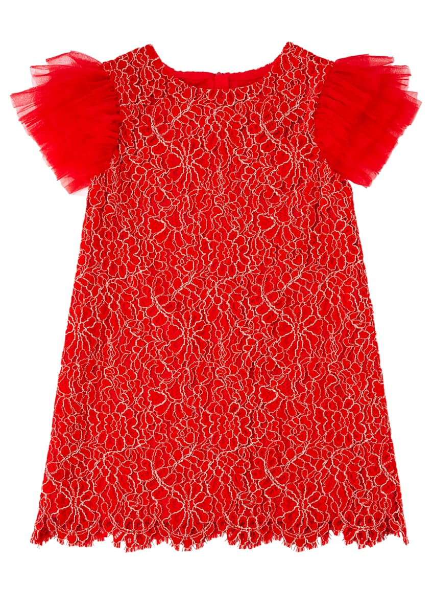 Charabia Woven Lace Dress w/ Tulle Flutter Sleeves,