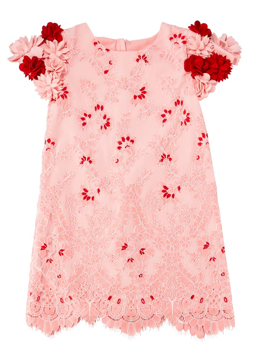 Charabia Lace Dress w/ 3D Felt Flower Sleeves,