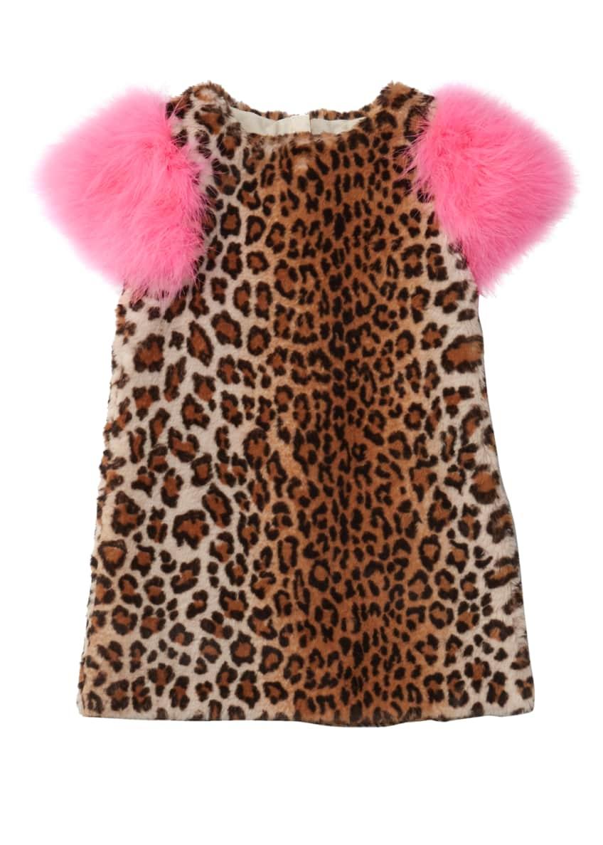 Charabia Nala Leopard Print Faux Fur Dress, Size