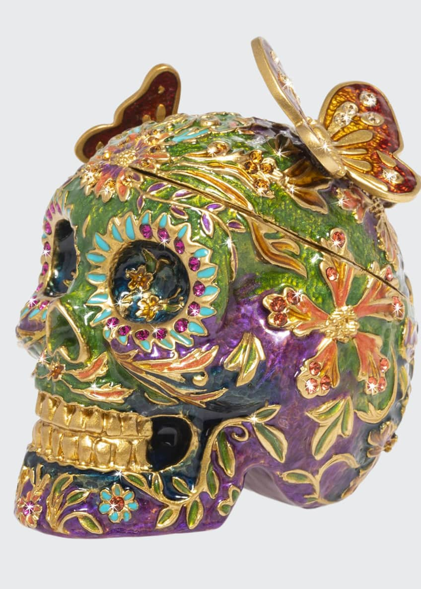 Jay Strongwater Skull with Butterflies Box