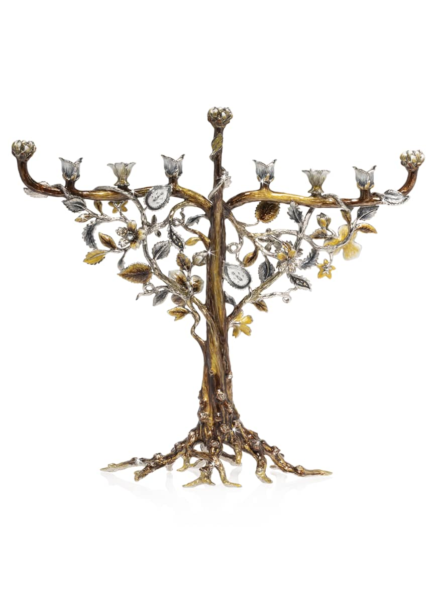 Image 2 of 2: Floral and Vine Menorah