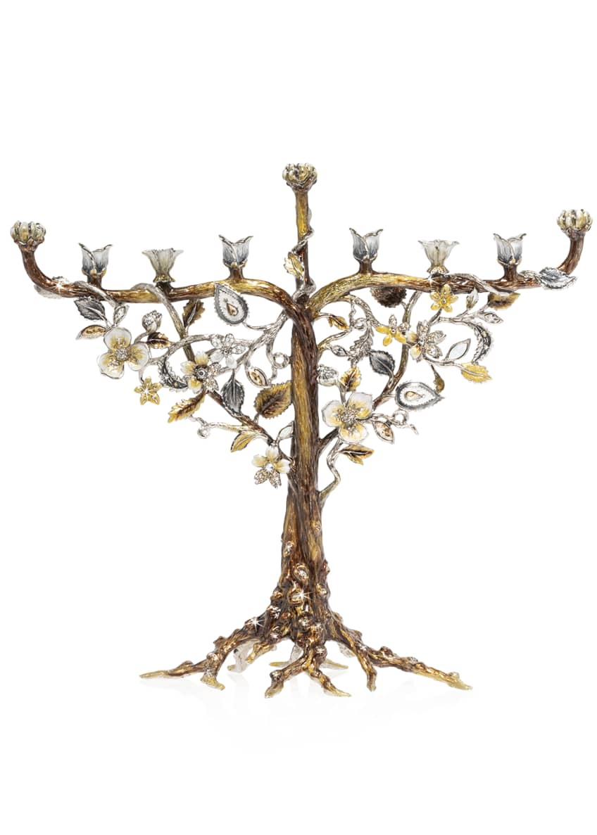 Image 1 of 2: Floral and Vine Menorah