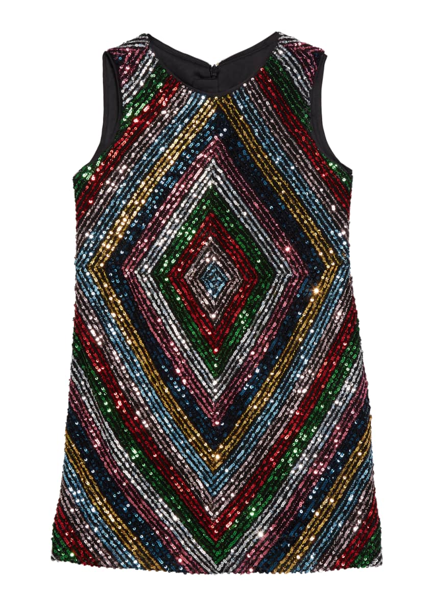 Milly Minis Girl's Rainbow Stripe Sequin Mitered Dress,