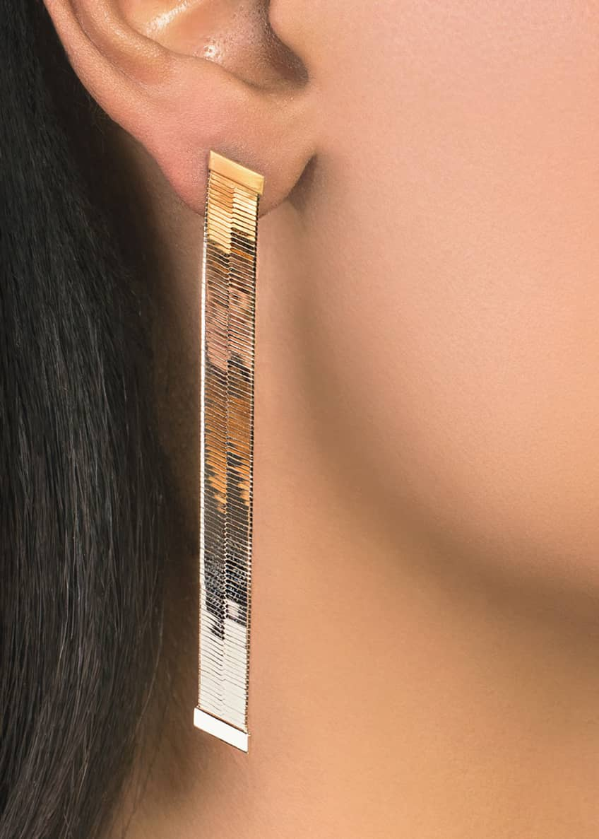 Image 2 of 2: 14k Liquid Gold Thick Linear Earrings