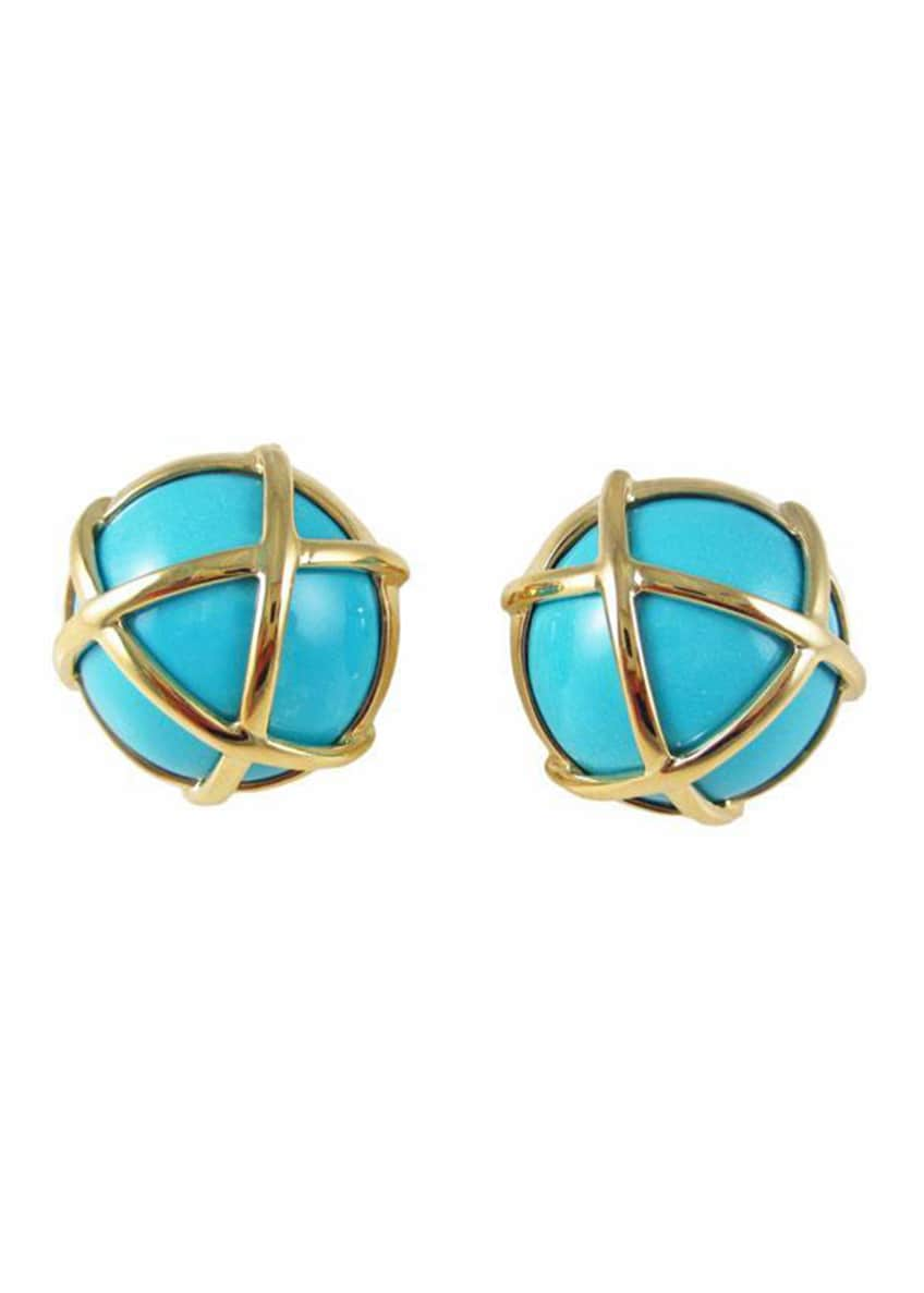 Image 1 of 1: 18k Turquoise Caged Earclips