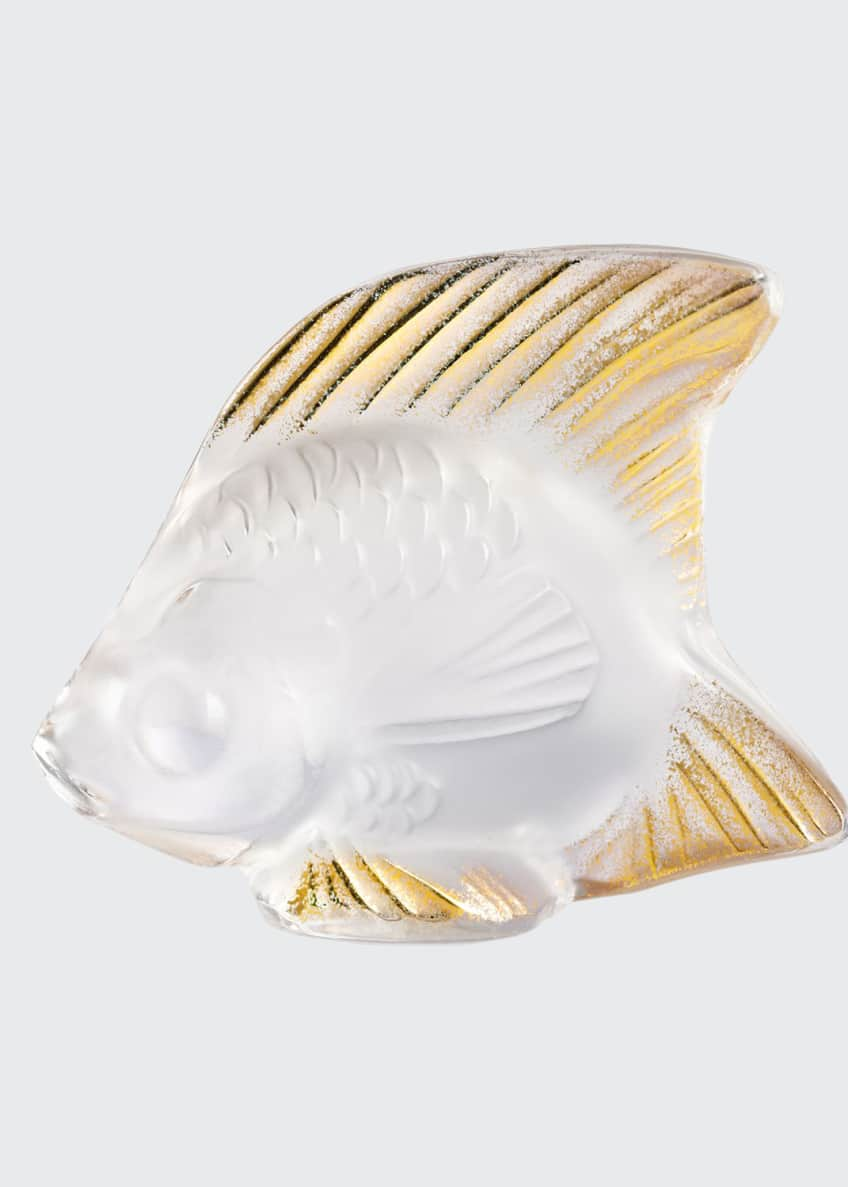 Lalique Clear Gold Stamped Fish Figurine