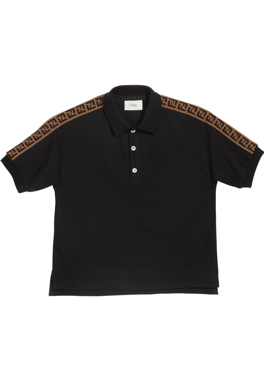 Fendi Boy's Logo Trim Polo Shirt, Size 4-8