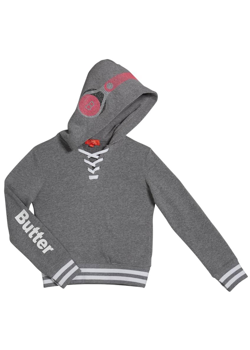Butter Kid's Dance Mix Studded Hoodie Sweatshirt, Size